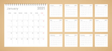 Simple Wall Calendar 2021 Year With Dotted Lines. The Calendar Is In English, Week Start From Monday.