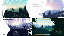 Vector Illustration. Travel Concept Of Discovering. Explore And Observe Nature. Paint Ink Brush Overlay. Flat Design Template Of Web Banner, Website Template. Landscapes Set. Backgrounds Collection