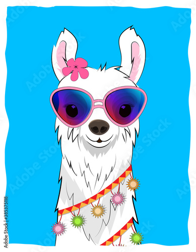Naklejka premium Postcard with a white llama in a flower wreath and colorful garlands on a blue background. Vector.