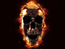 Laughing Liquid Metal Skull On...