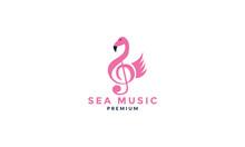 Notes Music With Flamingo Bird Logo Vector Illustration Design
