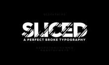 Typography Alphabet Fonts Set. Sliced Stylish Typeface. Vector Illustration Font A To Z.