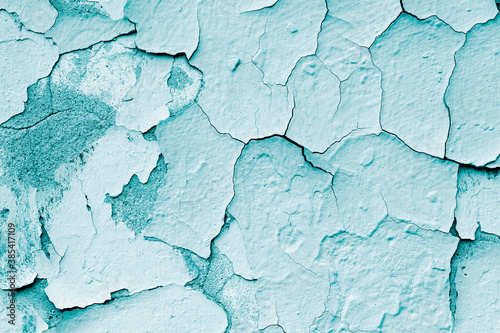 Obraz na plátně Blue grunge background , stone texture with cracked paint , old concrete wall,