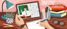 Student Watching School Lectures Online And Making Notes. Distance Education And Online Learning Concept Vector Illustration. Study School Course At Home. Video Call With Teacher Or Private Tutor