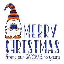 Christmas Card, Season's Greetings, Cute Christmas Gnomes On A White Background. Flat Design Of A Characters Of Dwarfs.