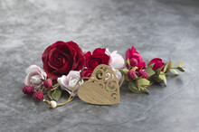 Carved Wooden Heart, Red And P...