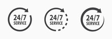 24-7 Service Icon. Vector Illu...