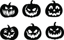 Set Of Halloween Pumpkins Silhouettes Vector Shape Graphics