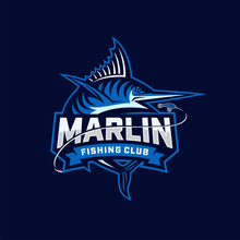 Marlin Fishing Club Logo. Unique And Fresh Blue Marlin Vector & Logo Template. Great To Use To Your Blue Marlin Fishing Activity.