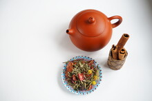 Chinese Clay Teapot For A Tea Ceremony With Cinnamon Sticks