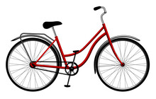 Red Ladies Bike  Isolated On W...