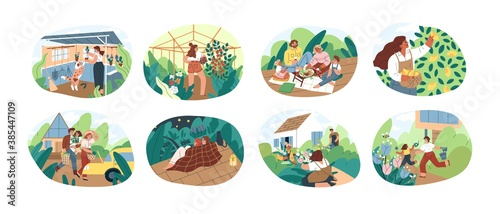 Obraz Set of people spending time at summer cottage or dacha vector flat illustration. Collection of man, woman, children and pet picking harvest, relaxing, planting and cultivation together isolated - fototapety do salonu