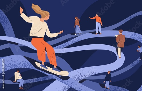 Psychological concept of important key points in memory or searching and finding life path. People going in past by psychotherapy. Flat vector cartoon illustration of people at tangled ways - 385447517