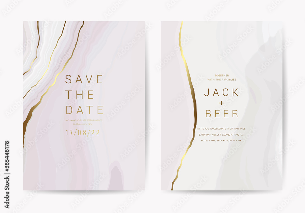 Fototapeta Luxury Marble Wedding invitation cards, Save The Date card design with Navy blue and gold brush decoration style- Vector