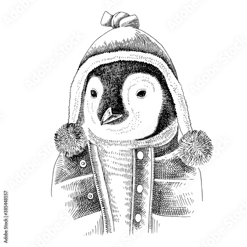 Photo Hand drawn dressed up penguin in hipster style