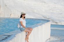 Tourist Woman Sits In Pamukkal...