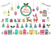手描き水彩風 クリスマスイラストセット