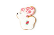 new year and christmas gingerbread cookies. shaped deer. christmas flat lay. isolated on white. minimalist style.