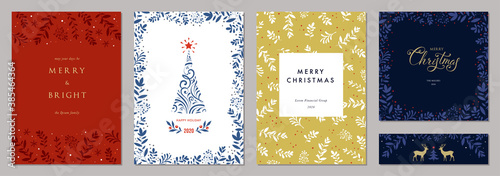 Obraz Holidays cards with Christmas tree, reindeers, floral frames and backgrounds. Modern universal artistic templates. Vector illustration. - fototapety do salonu