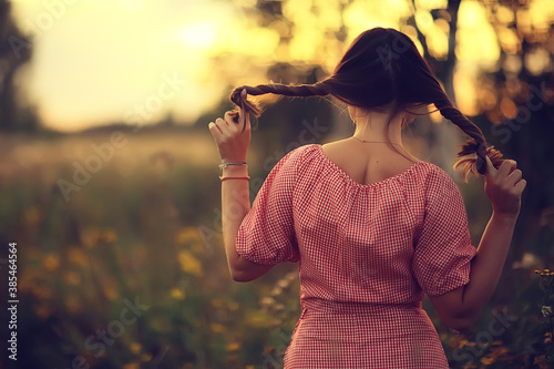 pigtails view from the back, young adult girl rustic style happiness freedom sum Wallpaper Mural