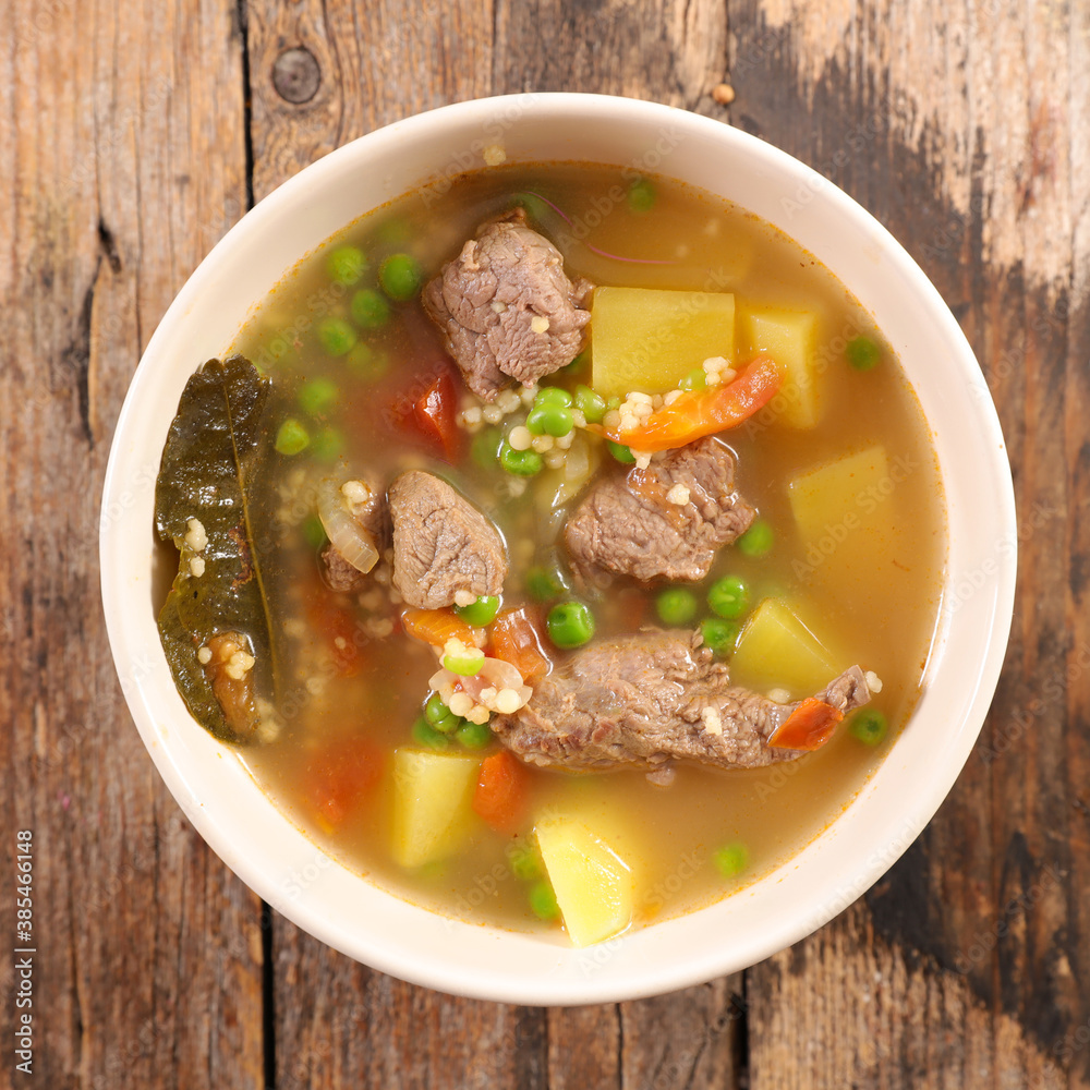 Fototapeta beef soup with vegetable and broth