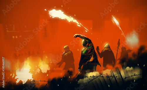 Fotomural Digital illustration painting design style People's insurgents, against ruined city