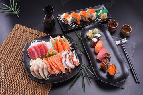 Fototapeta Sashimi and sushi Japanese food set