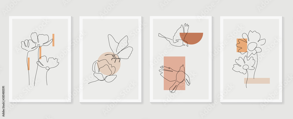 Fototapeta Flower and bird wall art vector set. Earth tone boho foliage flower line art drawing with  bird and butterfly.  Abstract Plant Art design for print, cover, wallpaper, Minimal and  natural wall art..