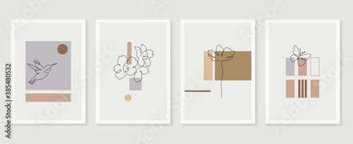 Flower and bird wall art vector set. Earth tone boho foliage flower line art drawing with bird and butterfly. Abstract Plant Art design for print, cover, wallpaper, Minimal and natural wall art..