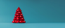 Red Paper Christmas Tree Decorated With Lights On Blue Background 3D Rendering