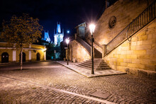 Historical Staircase At Charles Bridge By Night