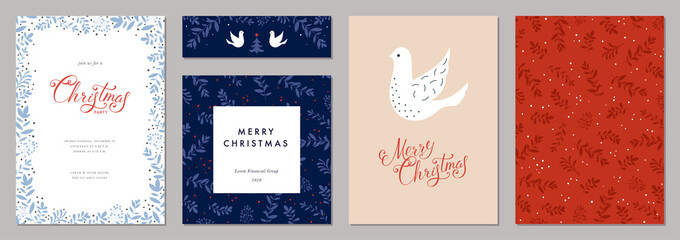 Fototapeta Tenis Merry Christmas and Happy Holidays cards with Dove, floral frames and backgrounds. Modern universal artistic templates.