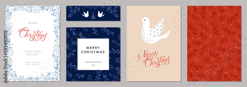 Merry Christmas and Happy Holidays cards with Dove, floral frames and backgrounds. Modern universal artistic templates.