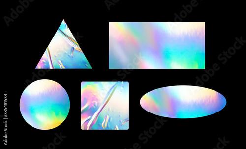 Fototapeta a variety of blank glued sticker shapes for design mockups
