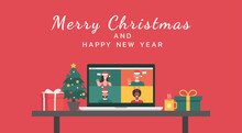 Merry Christmas And Happy New Year Lettering Banner Concept, People Meeting Together Online Via Video Calling On Laptop, Working Place And Desk, Vector Flat Illustration