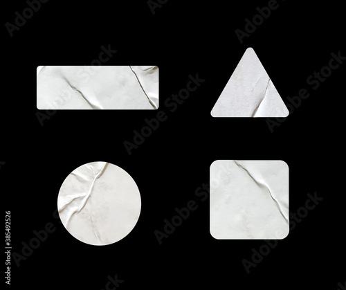 Obraz a variety of blank glued sticker shapes for design mockups. - fototapety do salonu