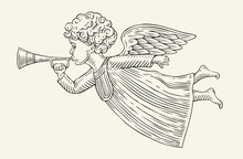 Flying Angel Messenger. Sketch Vintage Vector Illustration