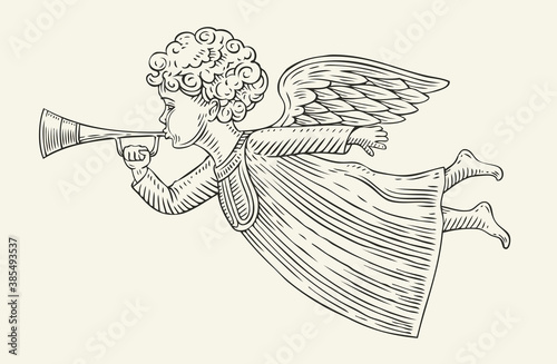 Foto Flying angel messenger. Sketch vintage vector illustration