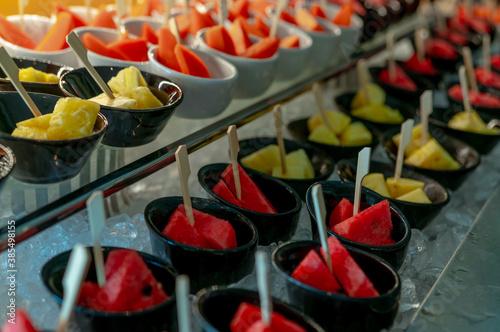 Vászonkép Selective focus tropical fruit buffet at event in restaurant