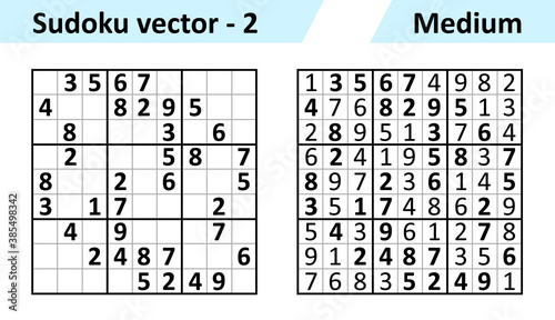 Obraz Sudoku game with answers. Simple vector design set Sudoku. Blank template. Complexity of the task is medium. - fototapety do salonu