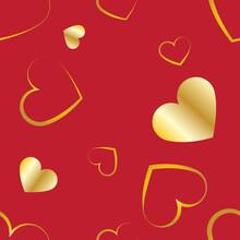 Haerts Seamless Pattern, Golden Hearts On Red Wallpaper.