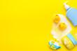 Leinwandbild Motiv Newborn bath time concept with care cosmetics product