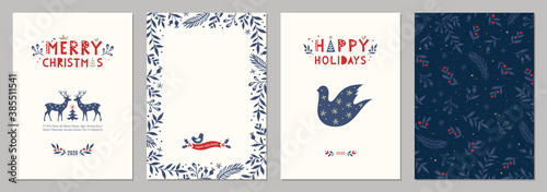 Bold Merry Christmas greeting cards. Universal trendy Winter Holidays art templates. Vector backgrounds. - 385511541