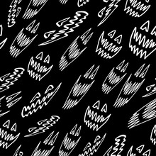 Scary Halloween Face Sketch Isolated On Black Background. Seamless Pattern.