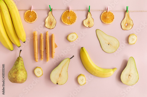 Pureed fruits are dried and rolled up. Natural and healthy snack food.