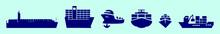 Set Of Boat Cartoon Icon Desig...