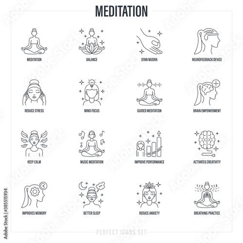 Valokuva Meditation set: girl in lotus pose, neurofeedback device, gyan mudra, balance, reduce stress, breathing practice, mind focus, concentration, better sleep, memory