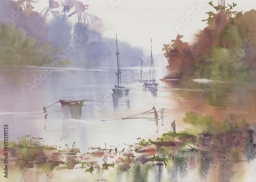 Obraz Morning mist by the lake with ships in autumn watercolor background - fototapety do salonu