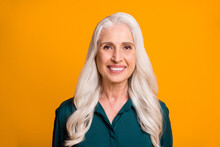 Closeup Photo Of Amazing Beautiful White Haired Grandma Aged Lady Toothy Smiling Cheerful Person Feel Young Energetic Wear Green Shirt Isolated Vibrant Yellow Background