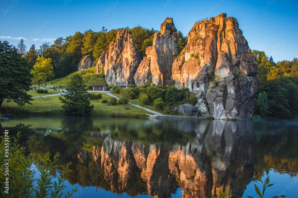 Fototapeta Externsteine. Sandstone rock formation located in the Teutoburg Forest, North Rhine Westphalia, Germany